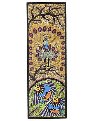 Peacock and Fish Madhubani Painting (22in x 7.5in)