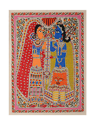 Shiv Parvati Madhubani Painting (29in x 21in)