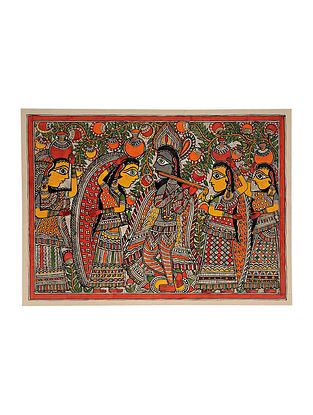 Radha Krishna Madhubani Painting (21in x 29in)