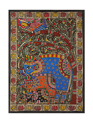 Tree of Life and Elephant Madhubani Painting (29in x 21in)