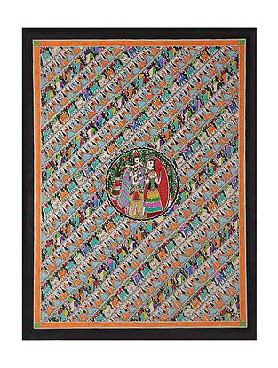 Radha Krishna Madhubani Painting (28.2in x 20.6in)