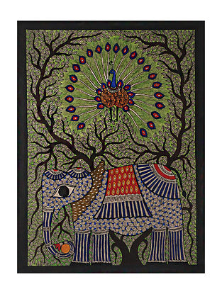 Elephant with Peacock Madhubani Painting (28.2in x 20in)