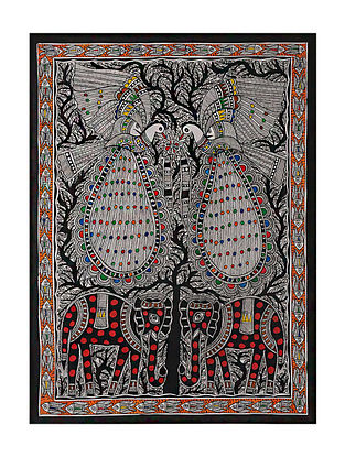 Elephant with Peacock Madhubani Painting (29in x 21in)