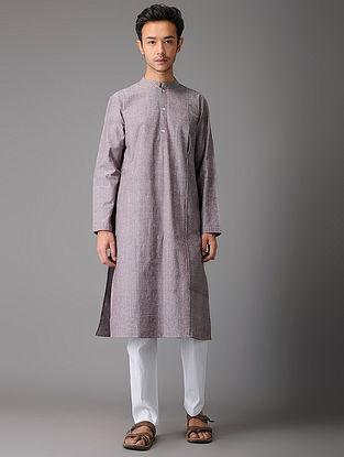 Grey-Pink Handloom Cotton Kurta