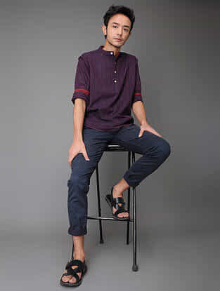 Purple-Pink Handloom Cotton Shirt