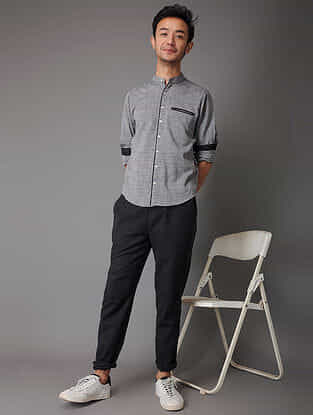 Grey-Black Handloom Cotton Shirt