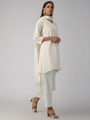 Ivory Cotton Schiffli Embroidered Kurta