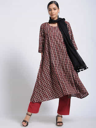 Black-Madder Bagh-Printed Cotton Kurta with Pockets