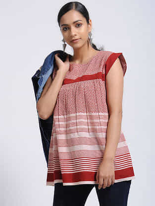 Madder-Ivory Bagh-Printed Cotton Top
