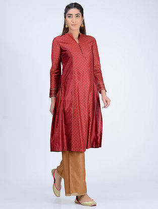 Maroon Paneled Chanderi Kurta With Khari Print