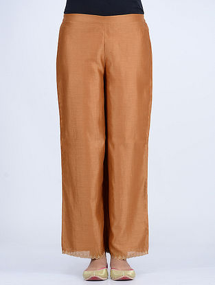 Beige Elasticated Waist Chanderi Pants with Embroidered Hem