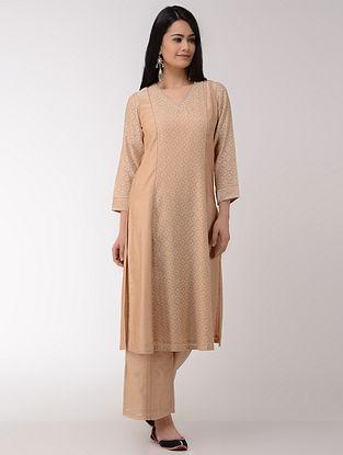 Beige Hand-embroidered Cotton-Silk Kurta