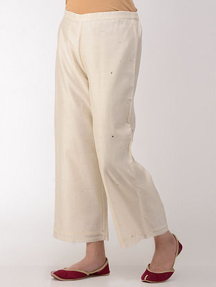 Ivory Embroidered Elasticated Waist Cotton-Silk Pants