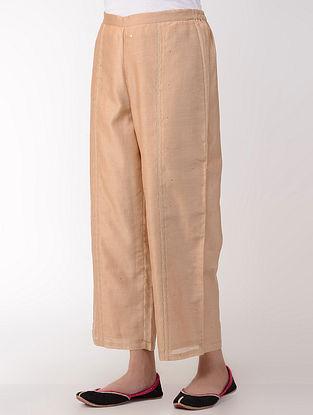 Beige Embroidered Elasticated Waist Cotton-Silk Pants
