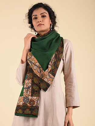Green Pashmina Blend Stole with Hand Painted Kalamkari and Ajrakh Border