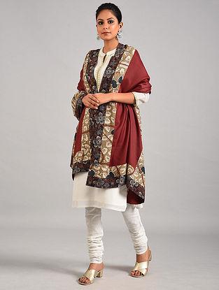 Red Hand Painted Kalamkari Pashmina Blend Shawl With Ajrakh Print