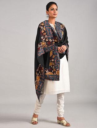 Black Hand Painted Kalamkari Pashmina Blend Shawl With Ajrakh Print