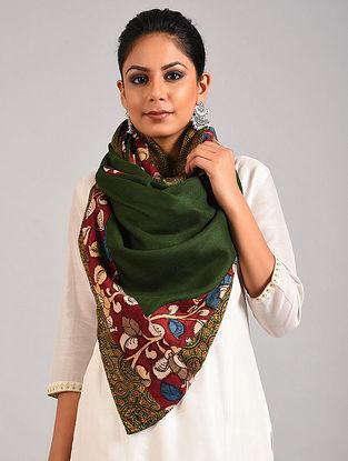 Green Hand Painted Kalamkari Pashmina Blend Stole With Ajrakh Print