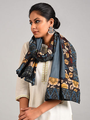Blue Hand Painted Kalamkari Pashmina Blend Stole With Ajrakh Print