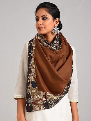 Brown Hand Painted Kalamkari Pashmina Blend Stole