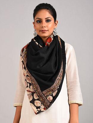 Black Hand Painted Kalamkari Pashmina Blend Stole