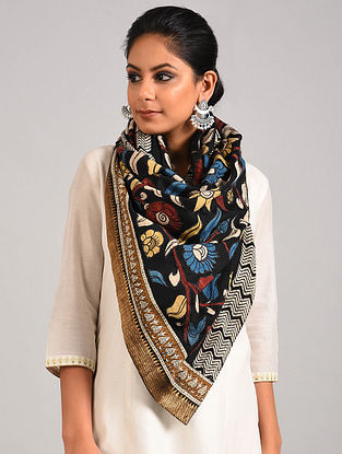 Black Hand Painted Kalamkari Pashmina Blend Stole with Applique Work