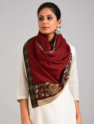 Red Hand Painted Kalamkari Pashmina Blend Stole