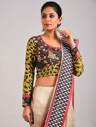 Multicolored Hand Painted Kalamkari Cotton Blouse with Ajrakh Print