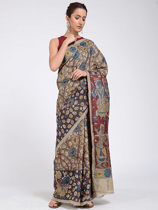 Beige-Red Hand-painted Kalamkari Tussar Silk Saree