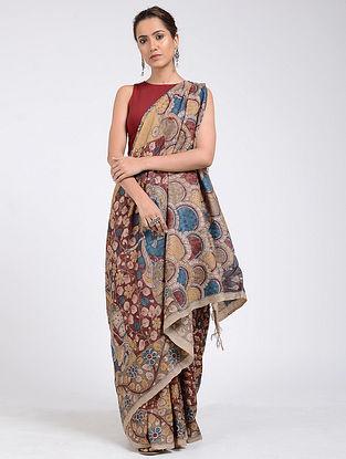 Beige-Red Hand-painted Kalamkari Tussar Silk Saree