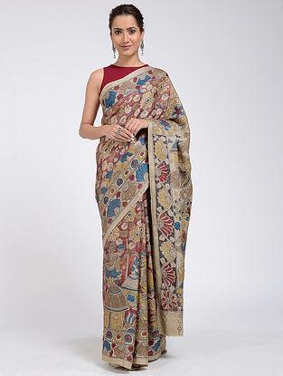Beige-Blue Hand-painted Kalamkari Tussar Silk Saree