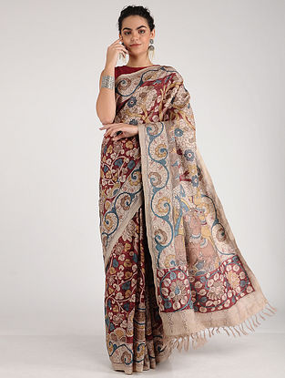 Red-Beige Hand-painted Kalamkari Tussar Silk Saree