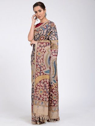 Black-Red Hand-painted Kalamkari Tussar Silk Saree