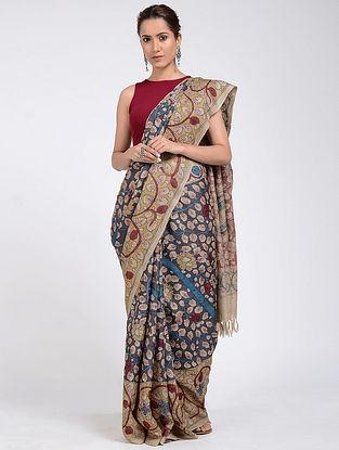 Blue-Red Hand-painted Kalamkari Tussar Silk Saree