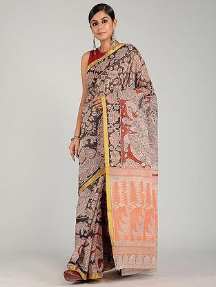Black-Orange Hand Painted Kalamkari Cotton Saree