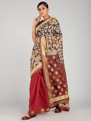 Red-Black Hand Painted Kalamkari Cotton Silk Saree