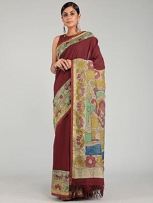 Red-Green Hand Painted Kalamkari Cotton Saree