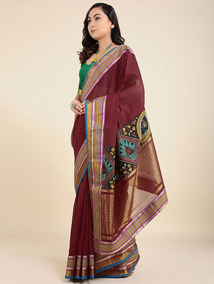 Maroon Hand Painted Kalamkari Cotton Saree