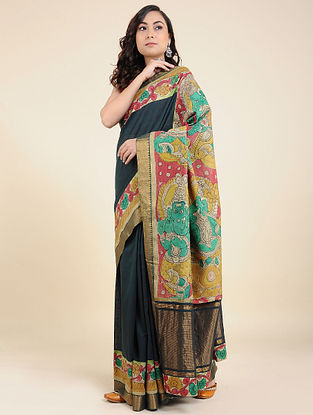 Navy Blue Hand Painted Kalamkari Cotton Saree