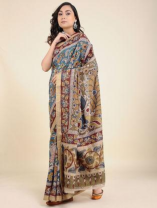 Multicolored Hand Painted Kalamkari Cotton Saree