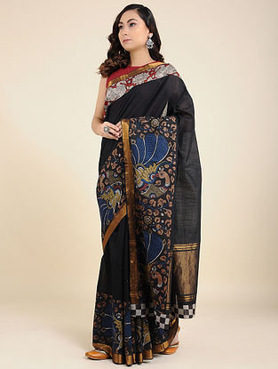 Black Hand Painted Kalamkari Cotton Saree