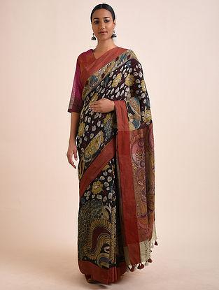 Multicolored Hand Painted Kalamkari Linen Saree