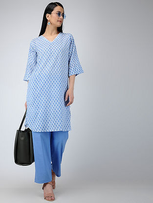 Blue-Ivory Printed Cotton Tunic