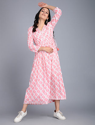 Ivory-Pink Printed Cotton Dress