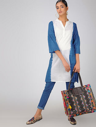 Blue-White Cotton Kurta