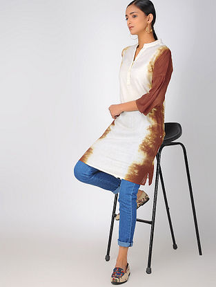 Brown-White Cotton Kurta