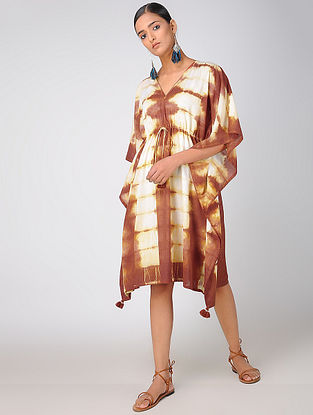 Brown-White Cotton Kaftan