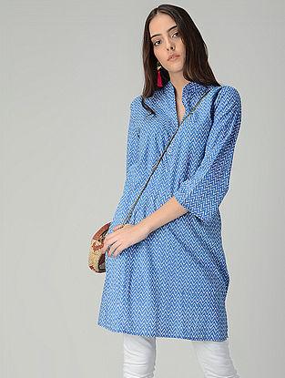 Blue-Ivory Printed Cotton Long Kurta