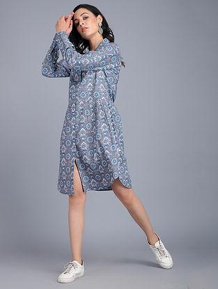 Grey-Blue Printed Cotton Dress