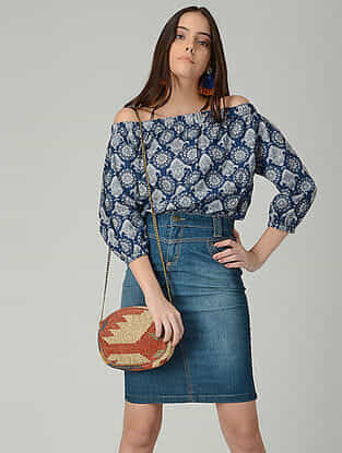 Blue-Grey Printed Cotton Off-shoulder Top